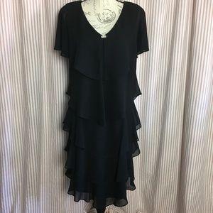 Patra Cascading Ruffles Black Dress Size 16P